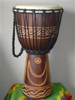 "Medium Djembe Drum 20"" x 11"" ~ MOON & STAR - 50m15"