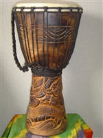 "Medium Djembe Drum 20"" x 11"" ~ Dragon- (50M21)"