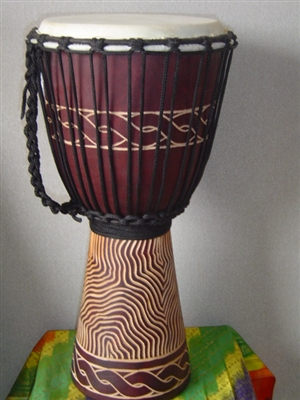 "Medium Djembe Drum 20"" x 11""- Wave Carvings (50M6)"